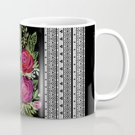 Rustic patchwork watercolor roses on black Coffee Mug