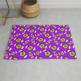 Cute lovely sweet decorative red and green candy pattern on purple background. Rug