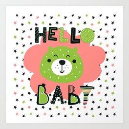 Hello Baby nursery boy and girl Art Print
