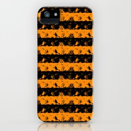 Light Pumpkin Orange and Black Halloween Nightmare Stripes iPhone Case