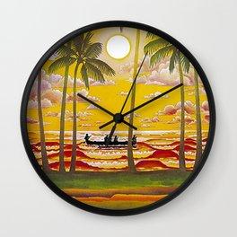 Surf Hawaii, Outrigger, Fly Hawaiian Air Vintage Travel Poster Wall Clock