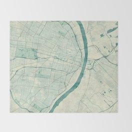 St. Louis Map Blue Vintage Throw Blanket