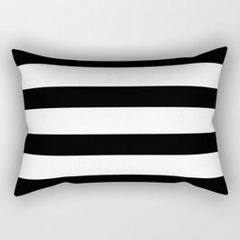 Black and White Horizontal Stripes Rectangular Pillow