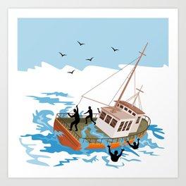 fishing boat at sea Art Print