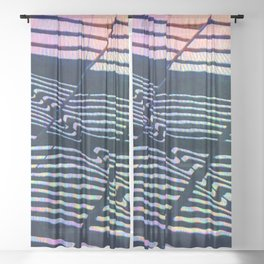 Colorful Geometric Abstract Design Sheer Curtain
