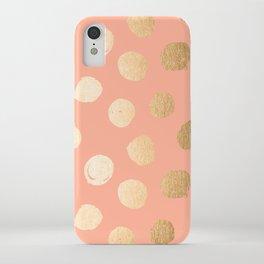 Sweet Life Polka Dots Peach Coral + Orange Sherbet Shimmer iPhone Case