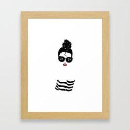 Girl, with Breton Stripes and Bun Framed Art Print