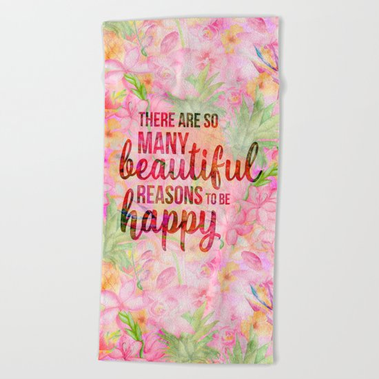Pink Tropical Flower Typography Illustration Beach Towel