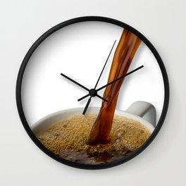Coffee Pouring Into White Mug Wall Clock