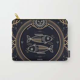 Pisces Zodiac Golden White on Black Background Carry-All Pouch