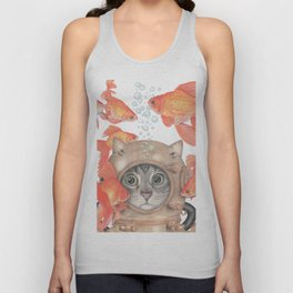 Scuba Cat Among the Fishes Unisex Tank Top