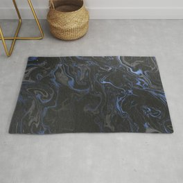 marble black and blue texture Rug