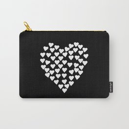 Hearts on Heart White on Black Carry-All Pouch