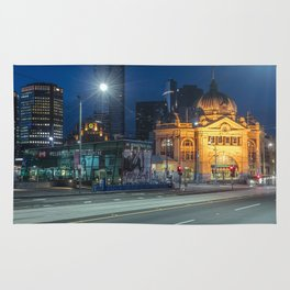 flinders street station in the blue hour Rug