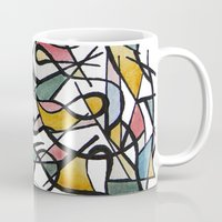 kandinsky Mugs featuring Geometric Abstract Watercolor Ink by Ashley Grebe