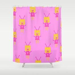 Happiest Little Robot (pink) Shower Curtain