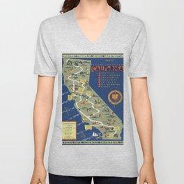 CALIFORNIA University map MAP Berkeley Unisex V-Neck