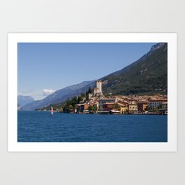 Photo Italy Lombardy, Sirmione, province of Brescia, Lake Garda Mountains Cities Building mountain Houses Art Print