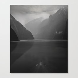 Rowing - Milford Sound, New Zealand Canvas Print