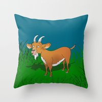 goat Throw Pillows featuring  Goat  by mailboxdisco