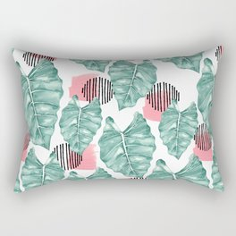 Watercolor tropical leaves abstract Rectangular Pillow