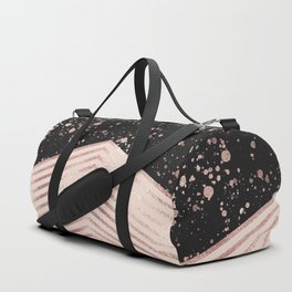 Luxury Rose Gold Pink Black Chevron Paint Splatter Duffle Bag