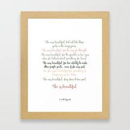She Was Beautiful By F. Scott Fitzgerald 3 #minimalism #poem Framed Art Print