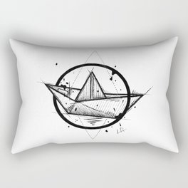 Paper Boat Handmade Drawing, Made in pencil and ink, Tattoo Sketch, Tattoo Flash, Blackwork Rectangular Pillow
