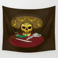 mexican Wall Tapestries featuring Mexican skull by juliusllopis