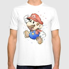 Mario Watercolor MEDIUM Mens Fitted Tee White