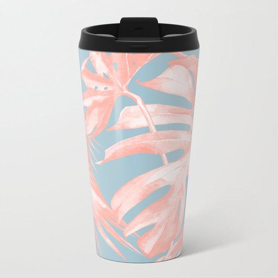 Island Love Coral Pink on Pale Blue Metal Travel Mug