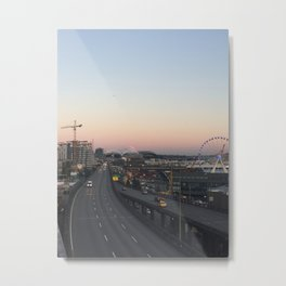 Mount Rainier from Pike Place Market Metal Print