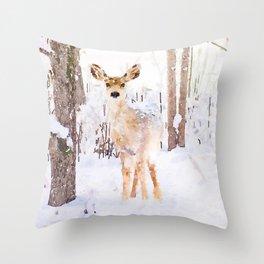 Little Deer in the Snow Throw Pillow