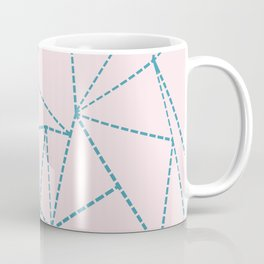 Ab Dotted Lines Blue on Pink Coffee Mug