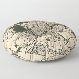 Madrid City Map of Spain - Vintage Floor Pillow