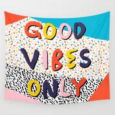Check it - good vibes happy smiles fun modern memphis throwback art 1980's 80's 80s 1980s 1980 neon  Wall Tapestry