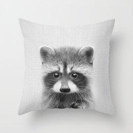 Raccoon - Black & White Throw Pillow