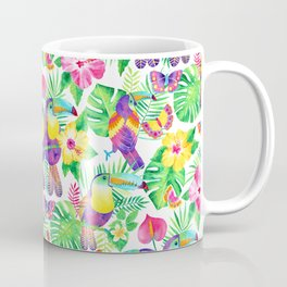 Tropical Toucans in Watercolor White Coffee Mug