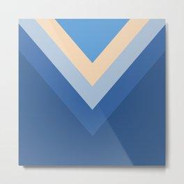 Blue Chevron Arrows Metal Print