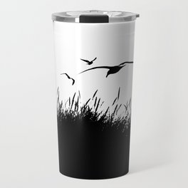 Seagulls Flying over Sand Dunes Travel Mug