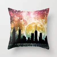 moonrise Throw Pillows featuring Moonrise by Jenndalyn