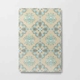 Vintage Floral - Light Blue Metal Print