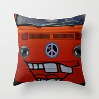 volkswagen Throw Pillows featuring funny volkswagen by gzm_guvenc