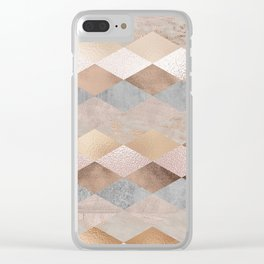 Copper and Blush Rose Gold Marble Argyle Clear iPhone Case