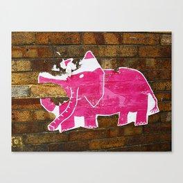 Tattered Pink Elephant Canvas Print