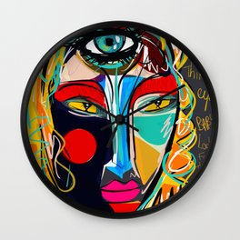 Looking for the third eye street art graffiti Wall Clock