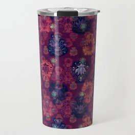 Lotus flower - fire on mulberry woodblock print style pattern Travel Mug