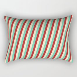 Red, Bisque, and Aquamarine Colored Lines/Stripes Pattern Rectangular Pillow