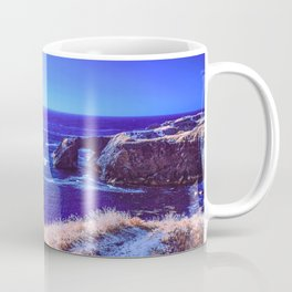 Early Morning Infrared Symmetrical Image of a Rocky Cove in Mendocino, California Coffee Mug
