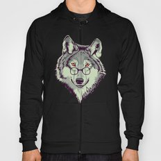 Wolf Head Illustration With Glasses Hoody
